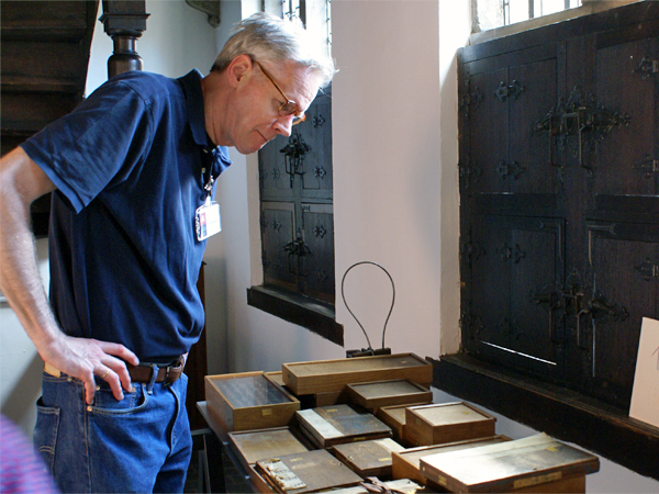 Frank E. Blokland organizing type-foundry artifacts at the Museum Plantin-Moretus