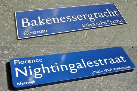 Street signs of the city of Haarlem typeset in DTL Haarlemmer