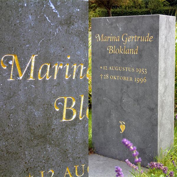Gravestone lettering by Frank E. Blokland